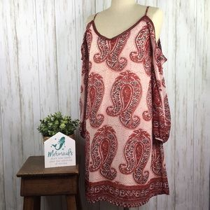 Wine Paisley Cold Shoulder Dress  Skies are Blue